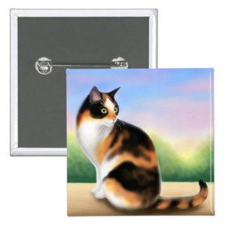 Pin colorido del gato de calicó