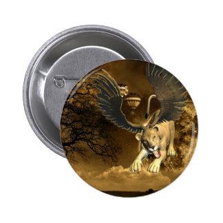 Pin con alas de la leona pin redondo 5 cm