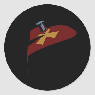 Pin Cross Heart Drip Classic Round Sticker