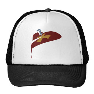 Pin Cross Heart Drip Trucker Hat