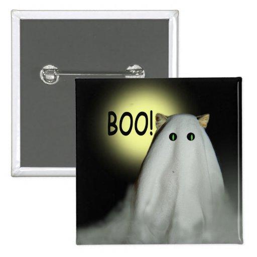 Pin cuadrado de Halloween del gato asustadizo Pin Cuadrada 5 Cm
