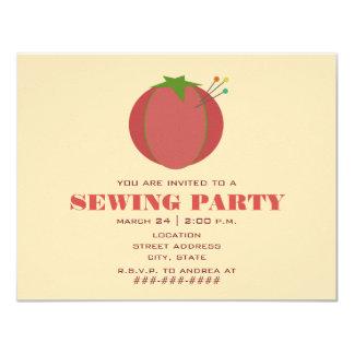 "Pin Cushion Sewing Party Invitation 4.25"" X 5.5"" Invitation Card"