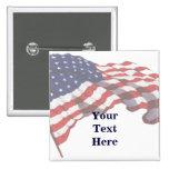 Pin de encargo de la bandera americana del texto