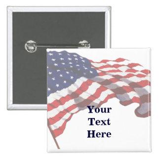 Pin de encargo de la bandera americana del texto pin cuadrada 5 cm