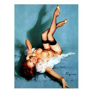 Pin de Gil Elvgren del vintage ENCIMA del chica en Tarjetas Postales