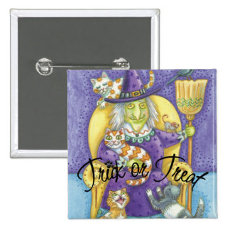 Pin de Halloween de la bruja de la Truco-o-Invitac Pin Cuadrada 5 Cm