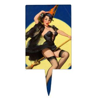 Pin de la bruja de Halloween encima del chica Figura Para Tarta