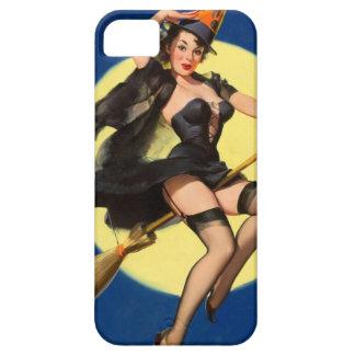 Pin de la bruja de Halloween encima del chica iPhone 5 Funda