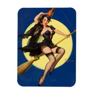 Pin de la bruja de Halloween encima del chica Iman De Vinilo