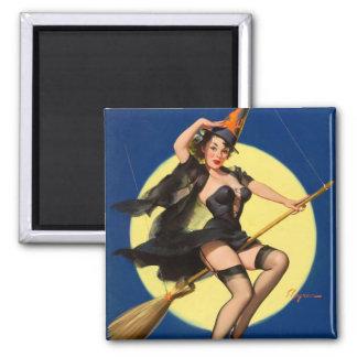 Pin de la bruja de Halloween encima del chica Imán Cuadrado