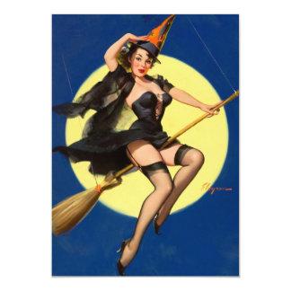 """Pin de la bruja de Halloween encima del chica Invitación 5"""" X 7"""""""