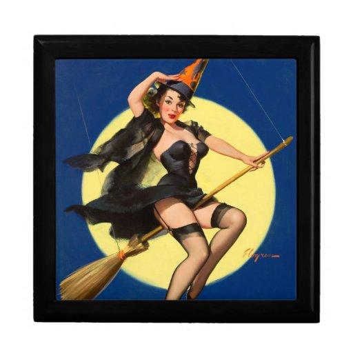 Pin de la bruja de Halloween encima del chica Joyero Cuadrado Grande