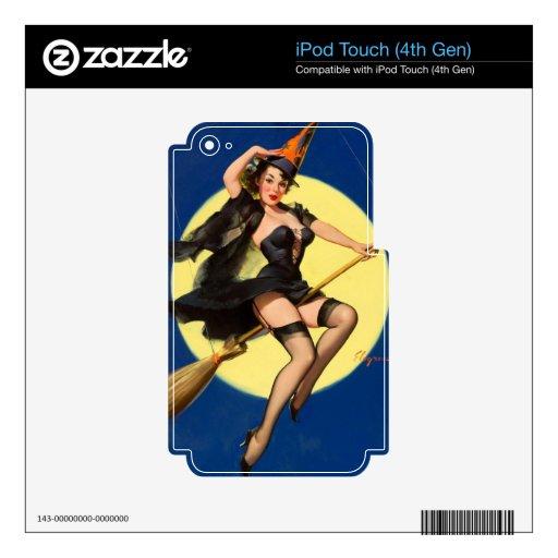 Pin de la bruja de Halloween encima del chica Calcomanías Para iPod Touch 4G
