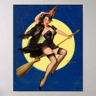 Pin de la bruja de Halloween encima del chica Impresiones