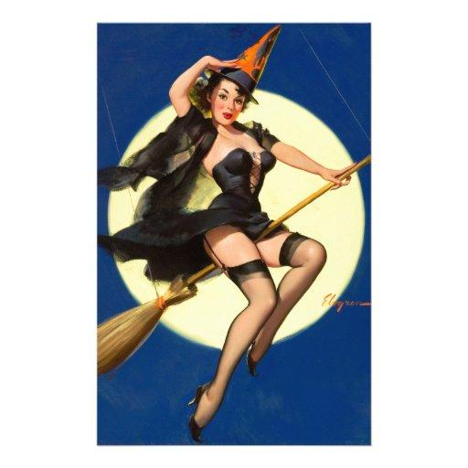Pin de la bruja de Halloween encima del chica Papeleria Personalizada
