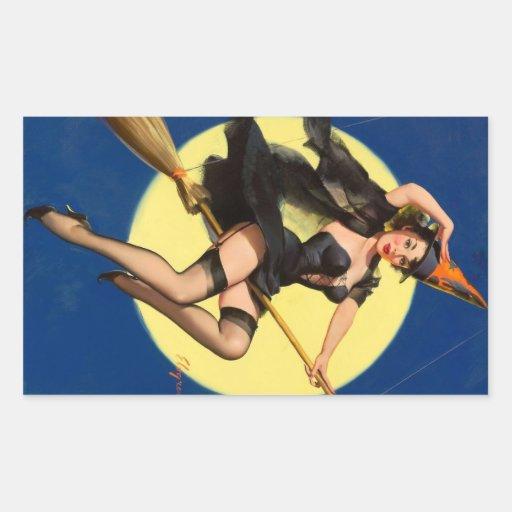 Pin de la bruja de Halloween encima del chica Pegatina Rectangular
