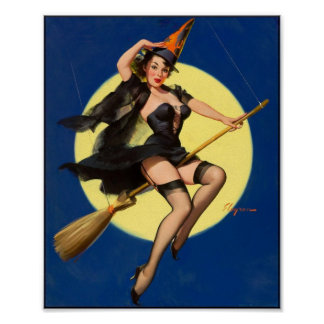 Pin de la bruja de Halloween encima del chica Póster