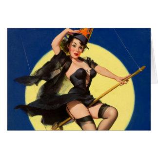 Pin de la bruja de Halloween encima del chica Tarjeta De Felicitación