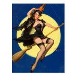 Pin de la bruja de Halloween encima del chica Postales