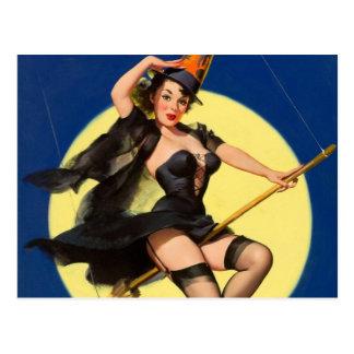 Pin de la bruja de Halloween encima del chica Tarjeta Postal