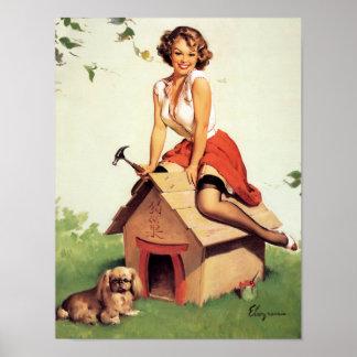 Pin de la caseta de perro para arriba póster