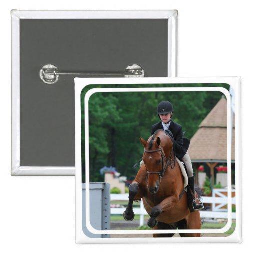 Pin de la demostración del caballo del cazador pin cuadrada 5 cm