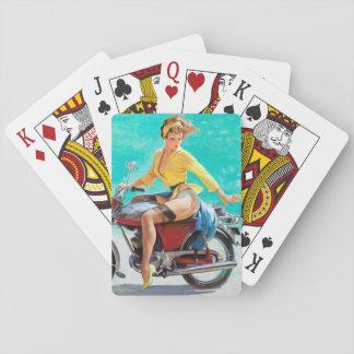 Pin de la motocicleta para arriba cartas de juego