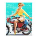 Pin de la motocicleta para arriba lona envuelta para galerias