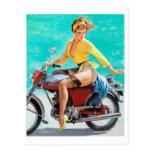 Pin de la motocicleta para arriba postal