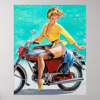 Pin de la motocicleta para arriba póster