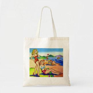 Pin de la playa de la postal del kitsch del vintag bolsa tela barata