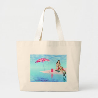 Pin de la playa encima del chica bolsa de tela grande