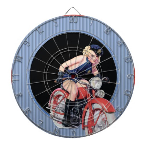 Pin de la policía encima del chica en la motocicle