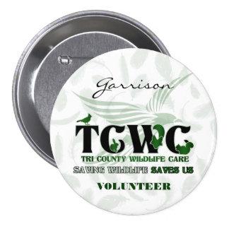 Pin de la solapa del voluntario del personalizado pin redondo 7 cm