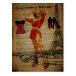 Pin de la torre Eiffel de París encima del fiesta Tarjetas Postales