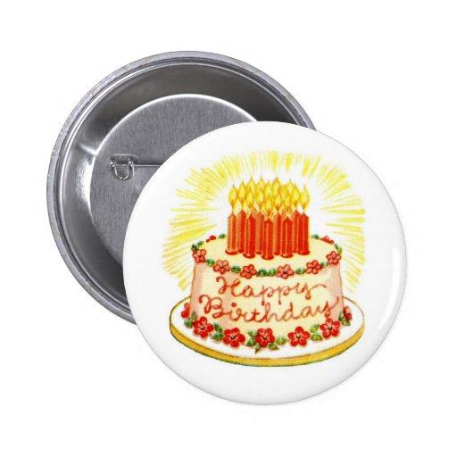 Pin de la torta del feliz cumpleaños del vintage pin redondo 5 cm