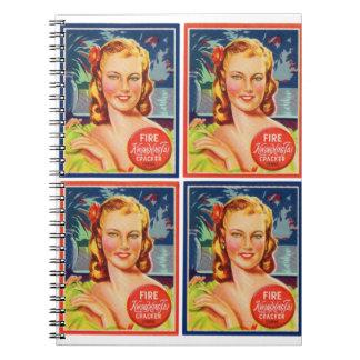 Pin de los gráficos del kitsch del vintage encima libro de apuntes con espiral