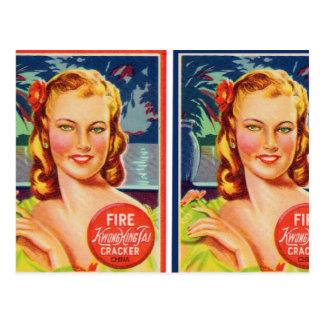 Pin de los gráficos del kitsch del vintage encima postal