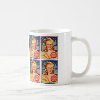 Pin de los gráficos del kitsch del vintage encima taza de café