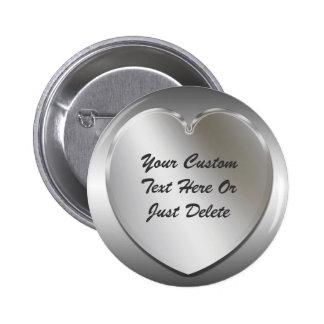 Pin de plata del botón del marco del corazón