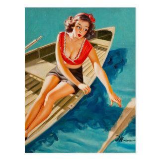 Pin del barco de fila encima del arte tarjeta postal