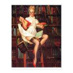 Pin del bibliotecario para arriba postales