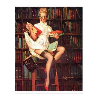 Pin del bibliotecario para arriba tarjetas postales