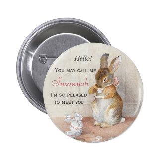Pin del botón de la etiqueta del nombre del conejo