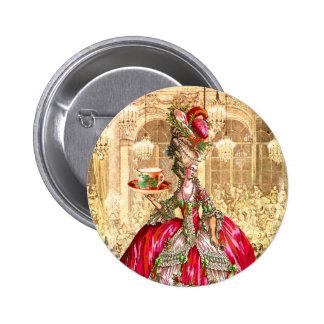 Pin del botón de la fiesta del té del navidad de M
