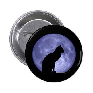 Pin del botón de la luna azul del gato negro