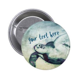 Pin del botón de la tortuga de mar verde que vuela