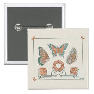 Pin del botón de las mariposas de Nouveau del arte