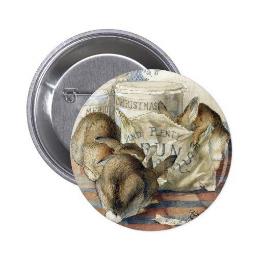 Pin del botón de los conejos de las Felices Navida