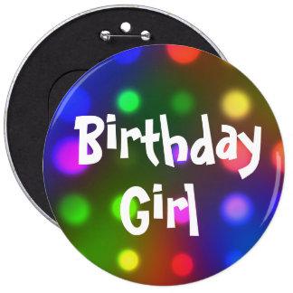 Pin del botón del chica del cumpleaños
